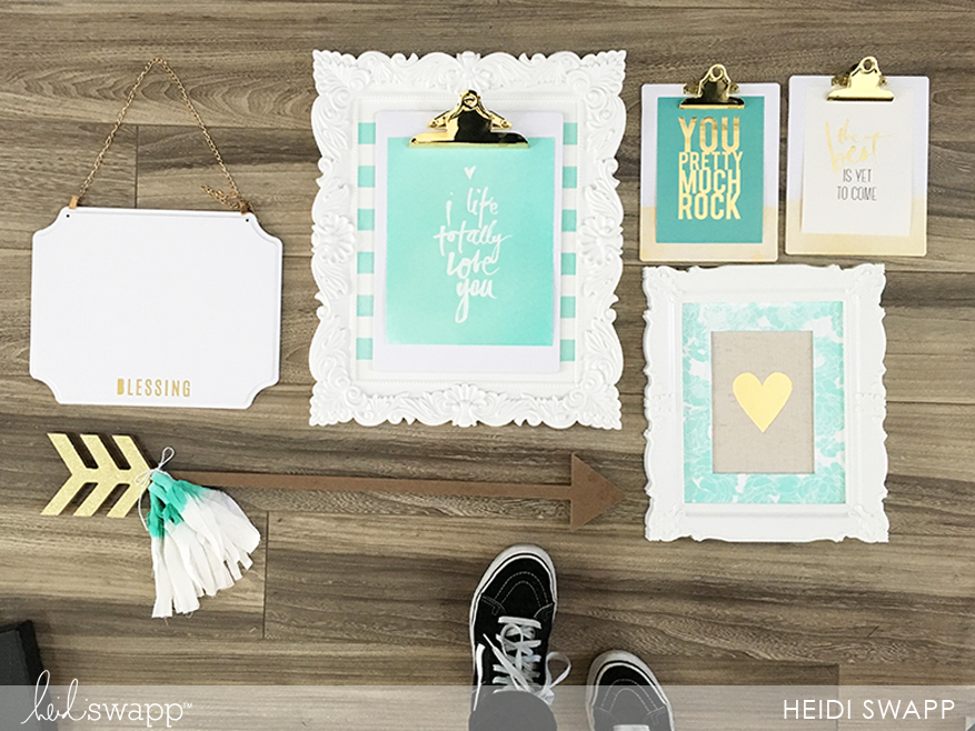 lay out the elements of your @heidiswapp gallery wall to determine the layout