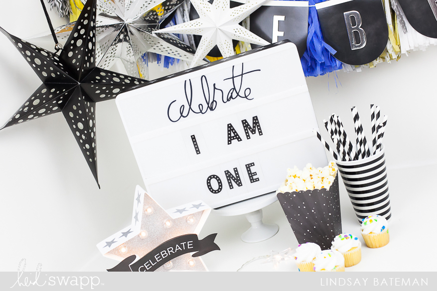 create a cake smash photo session props using celebration in lights I @lindsaybateman for @heidiswapp