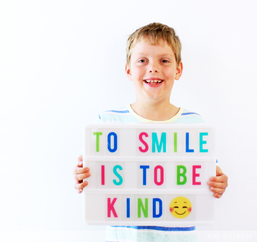 To Smile is to Be Kind lightbox by Kim Jeffress for @heidiswapp