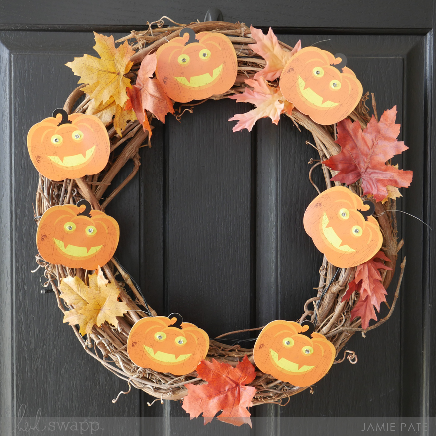 How To Light Up Your Fall Door with Heidi Swapp Pumpkin Banner by Jamie Pate | @jamiepate for @heidiswapp