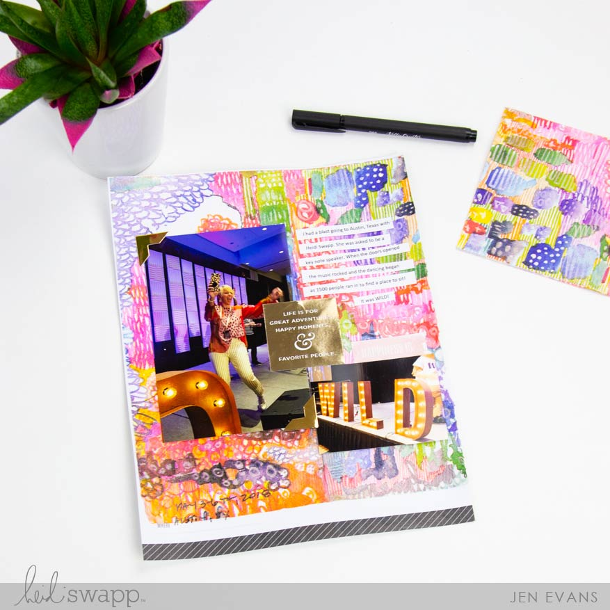How to Create a Mixed Media page in 5 minutes with no mess using Jane Davenport Collage Papers by @createoften for @heidiswapp